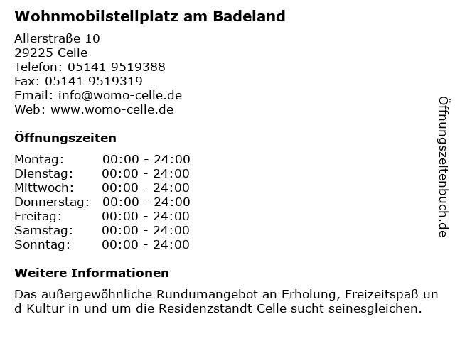 Wohnmobilstellplatz am Badeland in Celle: Adresse und Öffnungszeiten