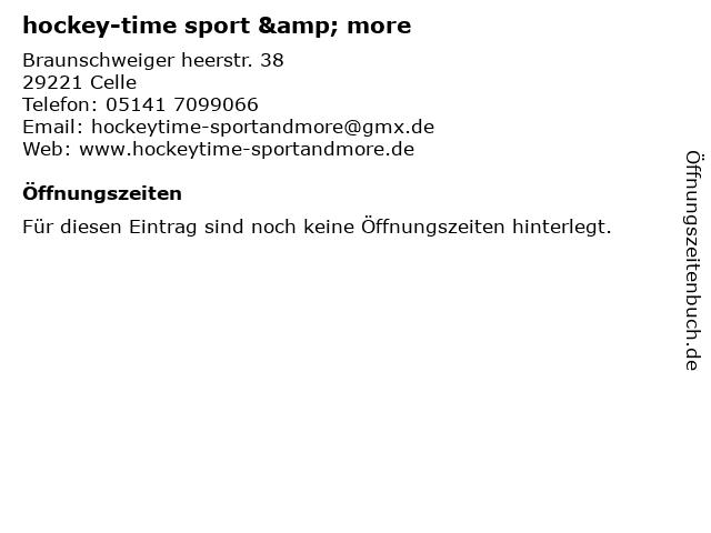 hockey-time sport & more in Celle: Adresse und Öffnungszeiten