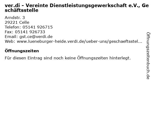 ver.di - Vereinte Dienstleistungsgewerkschaft e.V., Geschäftsstelle in Celle: Adresse und Öffnungszeiten