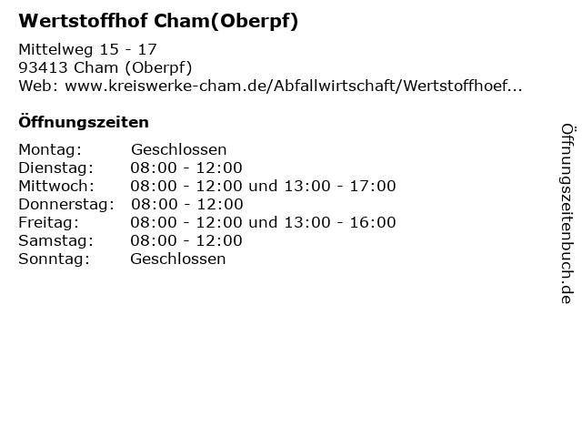 öffnungszeiten Wertstoffhof Cham