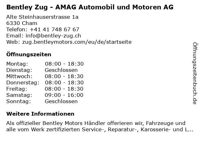 AMAG First AG / Porsche Zentrum Zug (Service) in Cham ZG: Adresse und Öffnungszeiten