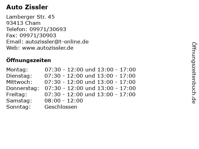 Auto Zissler in Cham: Adresse und Öffnungszeiten