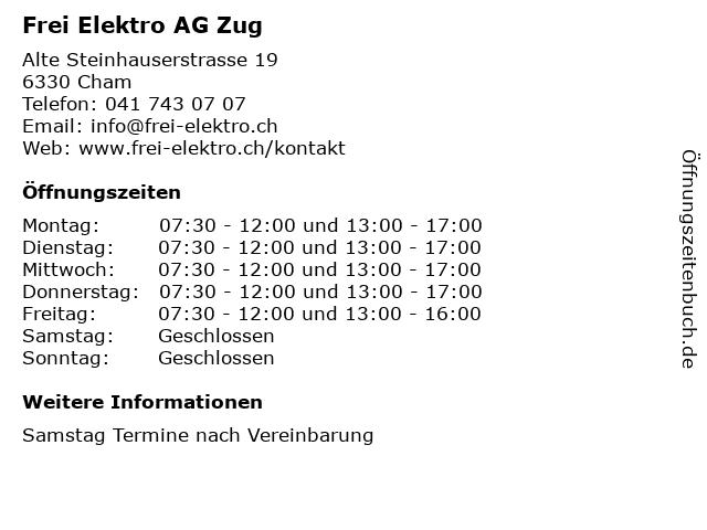 Frei Elektro AG Zug in Cham: Adresse und Öffnungszeiten
