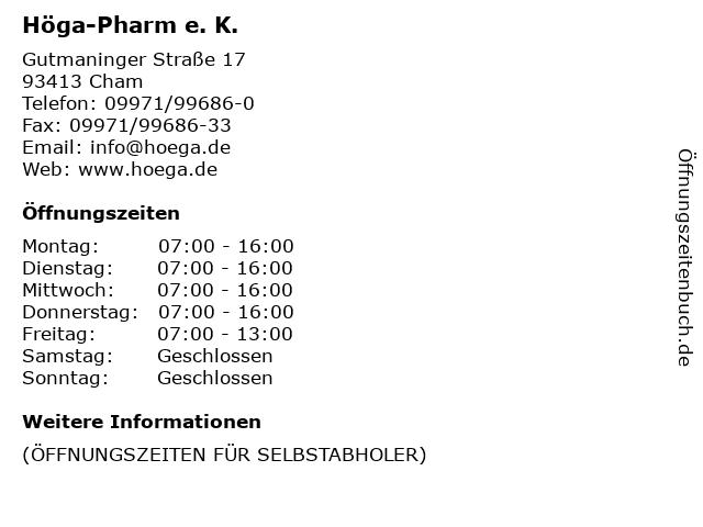 Höga-Pharm e. K. in Cham: Adresse und Öffnungszeiten