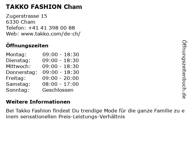 Takko Fashion in Cham: Adresse und Öffnungszeiten