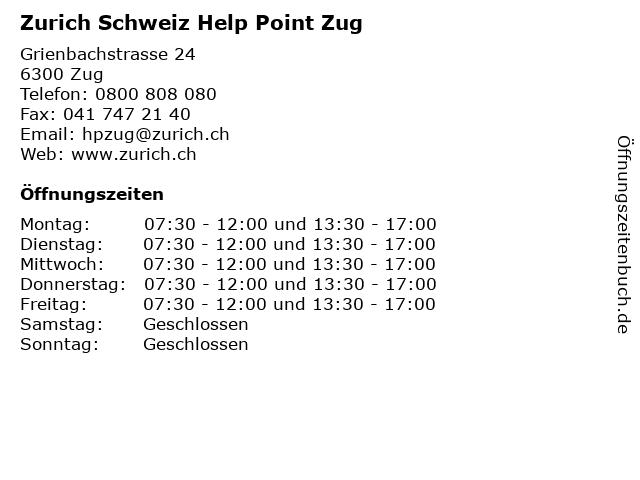 Zurich Schweiz Help Point Zug - Cham in Cham: Adresse und Öffnungszeiten