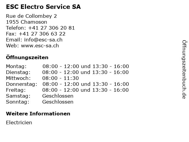 ESC Electro Service SA in Chamoson: Adresse und Öffnungszeiten