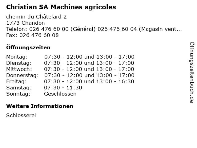 Christian SA Machines agricoles in Chandon: Adresse und Öffnungszeiten