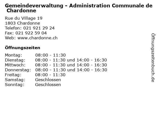 Gemeindeverwaltung - Administration Communale de Chardonne in Chardonne: Adresse und Öffnungszeiten