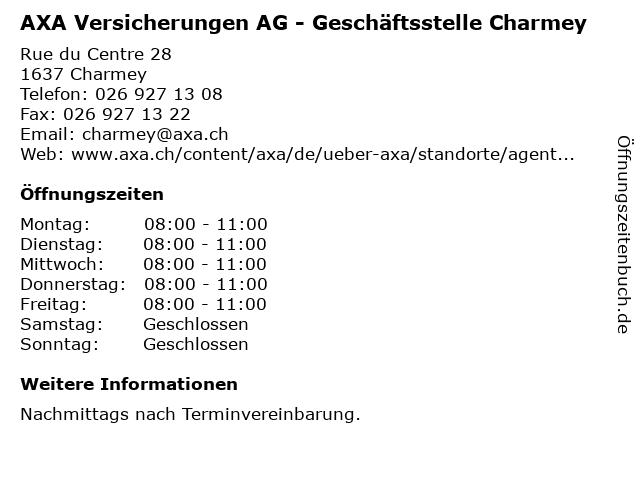 AXA Versicherungen AG - Geschäftsstelle Charmey in Charmey: Adresse und Öffnungszeiten