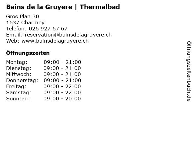 Bains de la Gruyere   Thermalbad in Charmey: Adresse und Öffnungszeiten