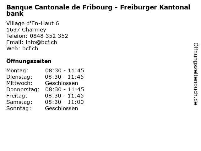 Banque Cantonale de Fribourg - Freiburger Kantonalbank in Charmey: Adresse und Öffnungszeiten
