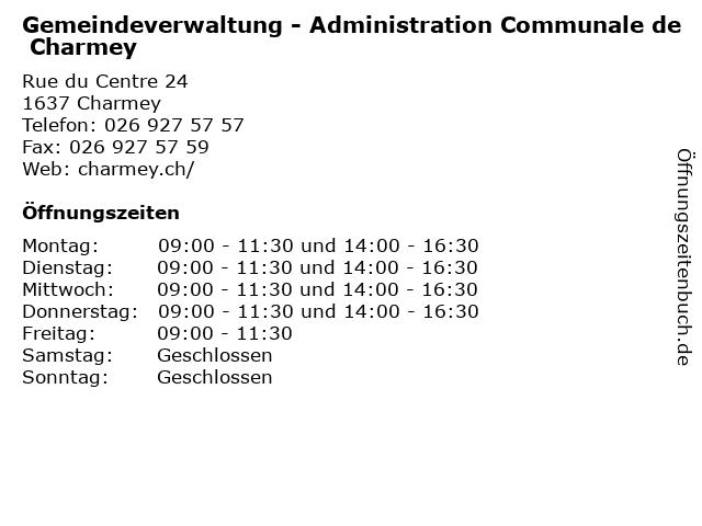 Gemeindeverwaltung - Administration Communale de Charmey in Charmey: Adresse und Öffnungszeiten
