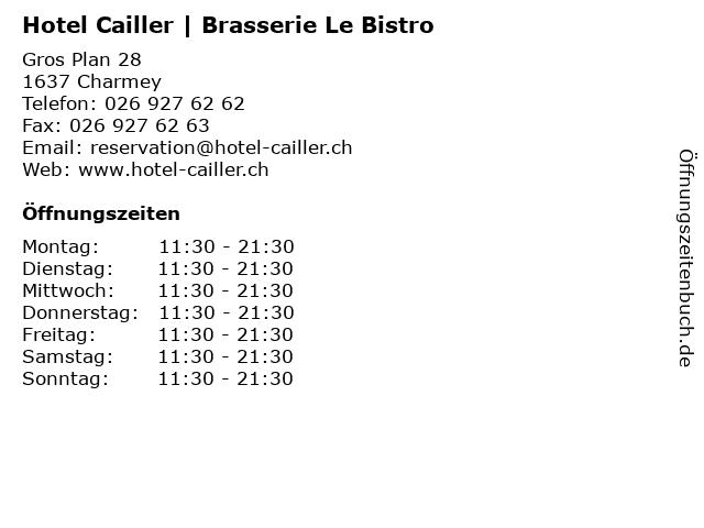 Hotel Cailler | Brasserie Le Bistro in Charmey: Adresse und Öffnungszeiten