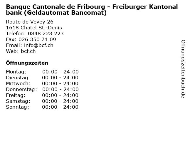 Banque Cantonale de Fribourg - Freiburger Kantonalbank (Geldautomat Bancomat) in Chatel St.-Denis: Adresse und Öffnungszeiten