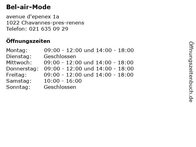 Bel-air-Mode in Chavannes-pres-renens: Adresse und Öffnungszeiten