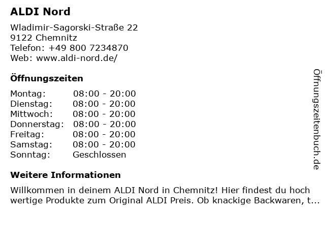 ALDI Nord in Chemnitz: Adresse und Öffnungszeiten