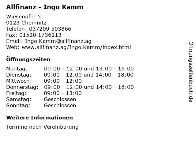 Allfinanz - Ingo Kamm in Chemnitz: Adresse und Öffnungszeiten