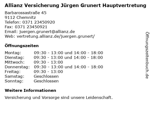 ᐅ Offnungszeiten Hdi Hauptvertretung Jurgen Grunert