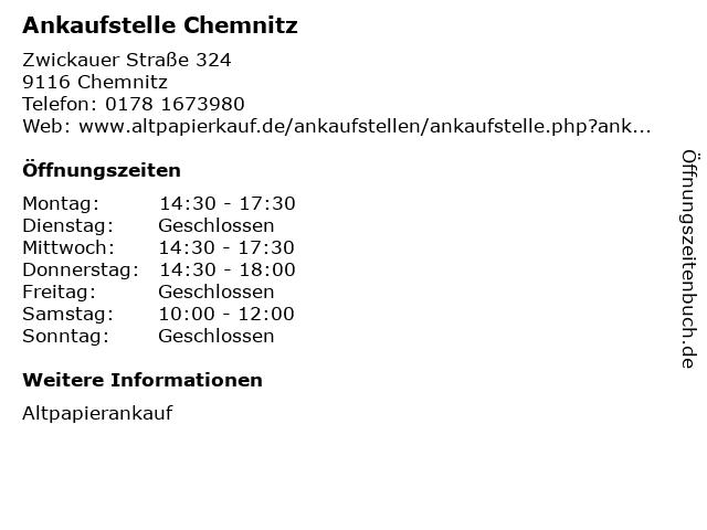 Ankaufstelle Chemnitz in Chemnitz: Adresse und Öffnungszeiten