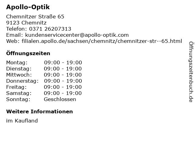 Apollo-Optik Holding GmbH & Co. KG in Chemnitz: Adresse und Öffnungszeiten