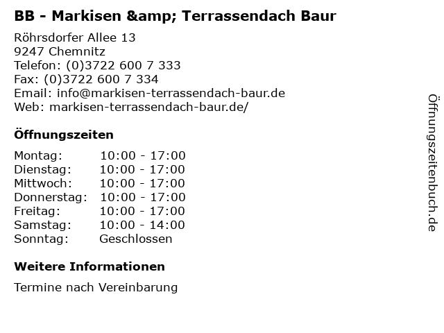 BB - Markisen & Terrassendach Baur in Chemnitz: Adresse und Öffnungszeiten