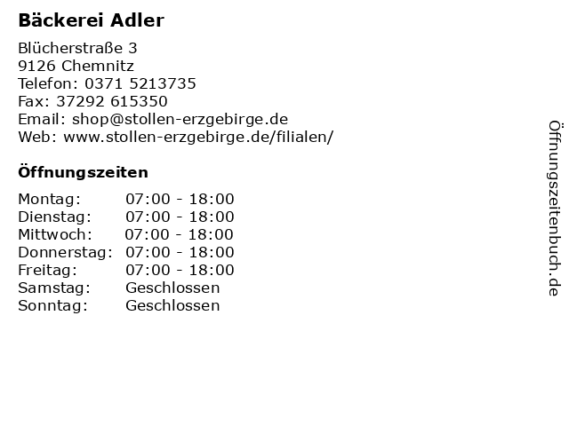 Bäckerei Adler in Chemnitz: Adresse und Öffnungszeiten