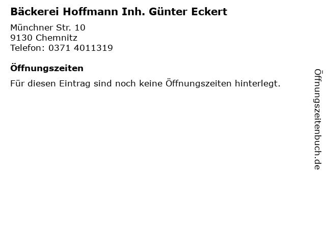 Bäckerei Hoffmann Inh. Günter Eckert in Chemnitz: Adresse und Öffnungszeiten