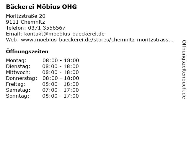 Bäckerei Möbius OHG in Chemnitz: Adresse und Öffnungszeiten