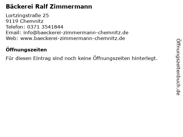 Bäckerei Ralf Zimmermann in Chemnitz: Adresse und Öffnungszeiten
