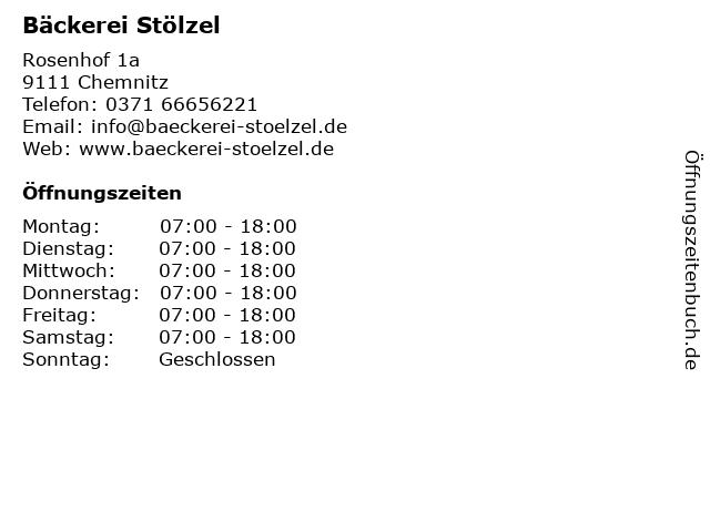 Bäckerei Stölzel in Chemnitz: Adresse und Öffnungszeiten