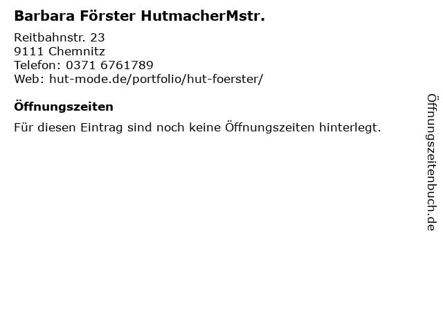 Barbara Förster HutmacherMstr. in Chemnitz: Adresse und Öffnungszeiten