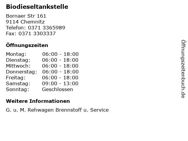 Biodieseltankstelle in Chemnitz: Adresse und Öffnungszeiten