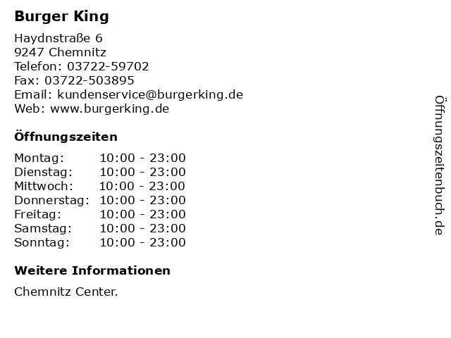 Burger King in Chemnitz: Adresse und Öffnungszeiten