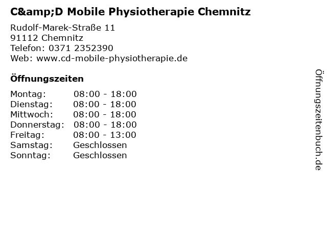 C&D Mobile Physiotherapie Chemnitz in Chemnitz: Adresse und Öffnungszeiten