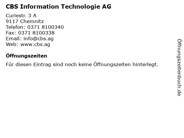 CBS Information Technologie AG in Chemnitz: Adresse und Öffnungszeiten