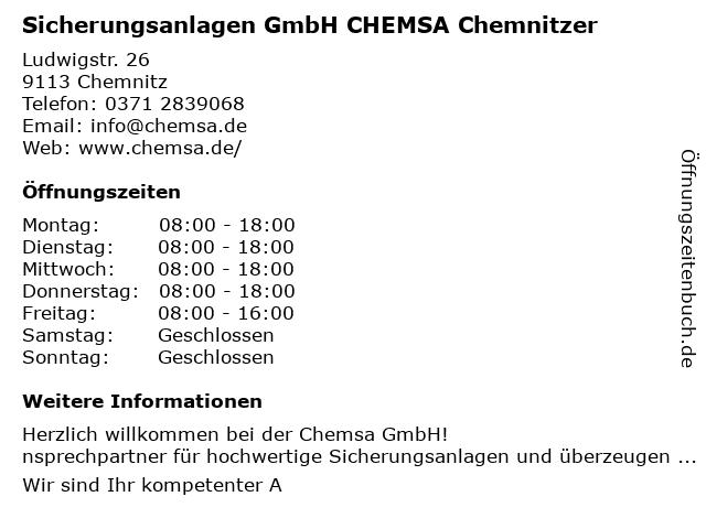 CHEMSA Chemnitzer Sicherungsanlagen GmbH in Chemnitz: Adresse und Öffnungszeiten