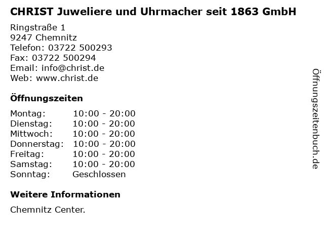 CHRIST Juweliere und Uhrmacher seit 1863 GmbH in Chemnitz: Adresse und Öffnungszeiten