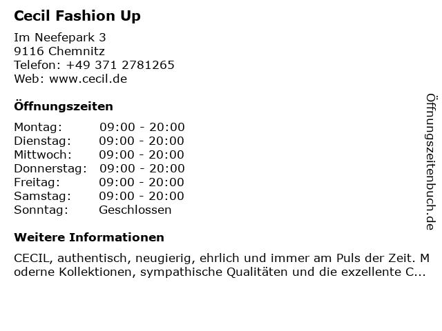 Cecil Fashion Up in Chemnitz: Adresse und Öffnungszeiten