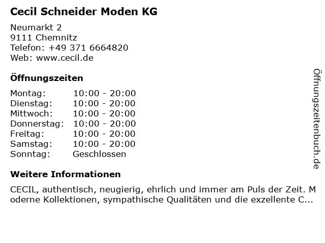 Cecil Schneider Moden KG in Chemnitz: Adresse und Öffnungszeiten