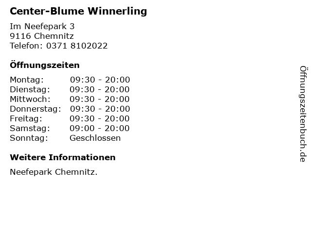 Center-Blume Winnerling in Chemnitz: Adresse und Öffnungszeiten