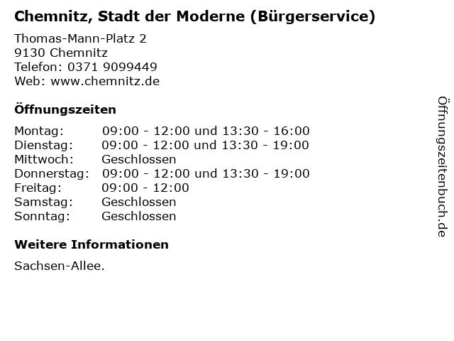 Chemnitz, Stadt der Moderne (Bürgerservice) in Chemnitz: Adresse und Öffnungszeiten