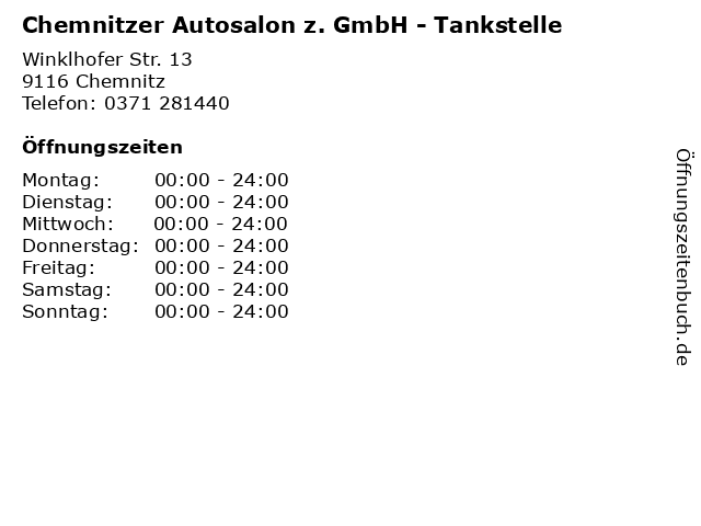 Chemnitzer Autosalon z. GmbH - Tankstelle in Chemnitz: Adresse und Öffnungszeiten