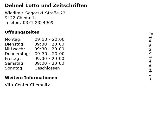 Dehnel Lotto und Zeitschriften in Chemnitz: Adresse und Öffnungszeiten
