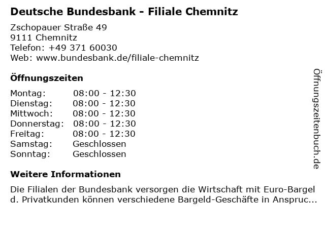 Deutsche Bundesbank in Chemnitz: Adresse und Öffnungszeiten