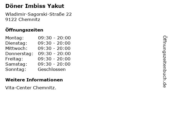 Döner Imbiss Yakut in Chemnitz: Adresse und Öffnungszeiten