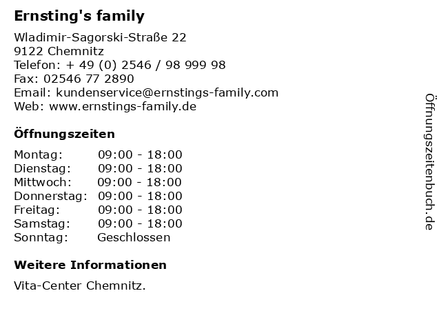 Ernsting's family GmbH & Co. KG in Chemnitz: Adresse und Öffnungszeiten