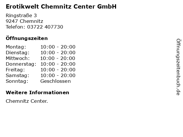 Erotikwelt Chemnitz Center GmbH in Chemnitz: Adresse und Öffnungszeiten