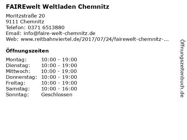 FAIREwelt Weltladen Chemnitz in Chemnitz: Adresse und Öffnungszeiten
