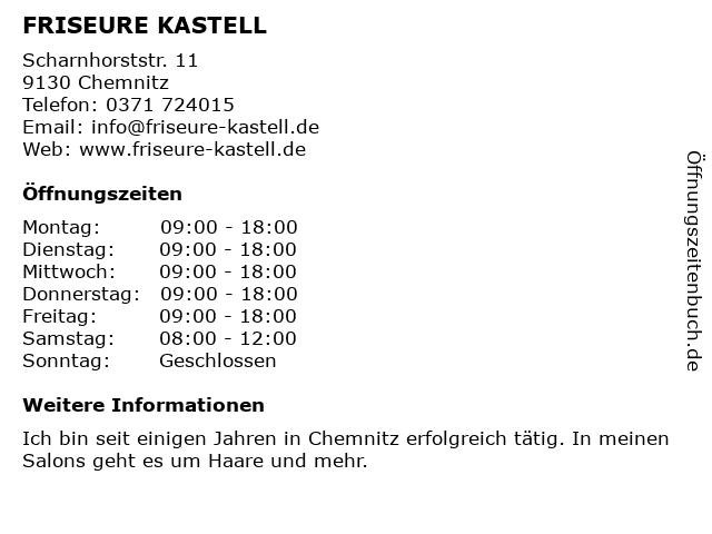 Friseure Kastell in Chemnitz: Adresse und Öffnungszeiten